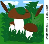 Illustration With Mushrooms