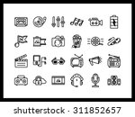 Vector icon set in a modern style. Creative profession, sound recording and film making, Photography, directing, product creation. - stock vector