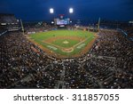 Small photo of San Francisco, California, USA, October 16, 2014, AT&T Park, baseball stadium, SF Giants versus St. Louis Cardinals, National League Championship Series (NLCS), crowd watches game elevated view
