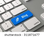 a keyboard with a blue button... | Shutterstock . vector #311871677