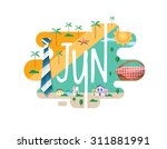 calendar collection   june flat ... | Shutterstock .eps vector #311881991