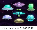 cartoon fantastic ufo set ...