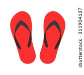 red beach slippers icon   vector | Shutterstock .eps vector #311904137