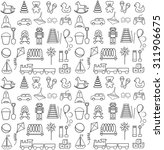 toys icons contour. seamless...   Shutterstock .eps vector #311906675