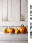 Pumpkins On Wooden Table  Copy...