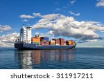 container ship sailing in to... | Shutterstock . vector #311917211