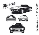 set of muscle car illustrations ... | Shutterstock .eps vector #311924327