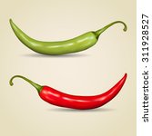 set of chilli peppers on gray... | Shutterstock .eps vector #311928527