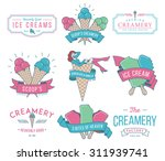 vector ice cream badges and... | Shutterstock .eps vector #311939741