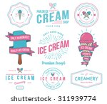 vector ice cream badges and... | Shutterstock .eps vector #311939774