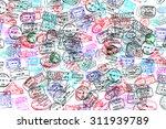 background of passport stamps... | Shutterstock . vector #311939789