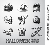 set of freehand halloween icons ... | Shutterstock .eps vector #311946941