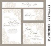set of wedding  invitation or... | Shutterstock .eps vector #311961131