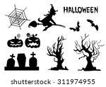 halloween vector silhouettes... | Shutterstock .eps vector #311974955