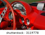 Red Dashboard On Vintage Sport...