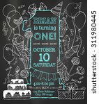 chalk first birthday invitation ... | Shutterstock .eps vector #311980445