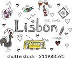 vector set of lisbon symbols  a ... | Shutterstock .eps vector #311983595