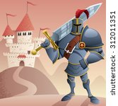 cartoon knight in front of... | Shutterstock .eps vector #312011351