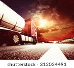 semi truck in motion. speeding... | Shutterstock . vector #312024491