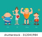 short and tall  strong and weak   Shutterstock .eps vector #312041984