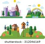 set of different landscapes in... | Shutterstock .eps vector #312046169