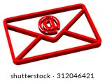 red envelope with sign e mail ... | Shutterstock . vector #312046421