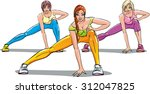 three women in sportswear and...   Shutterstock .eps vector #312047825