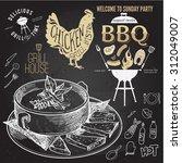 soup hand drawn. chicken label... | Shutterstock .eps vector #312049007