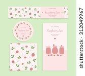 homemade raspberry jam set.... | Shutterstock .eps vector #312049967