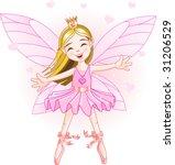 cute pink fairy ballerina flying | Shutterstock .eps vector #31206529