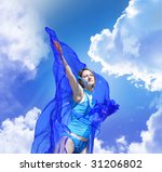 beautiful young woman with blue ... | Shutterstock . vector #31206802