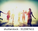 friendship freedom beach summer ... | Shutterstock . vector #312087611