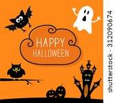 haunted house  pumpkins  owl ... | Shutterstock .eps vector #312090674
