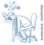 exhausted business man at his... | Shutterstock .eps vector #312091901