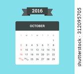 october calendar 2016. vector... | Shutterstock .eps vector #312095705