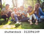 group of happy friends with... | Shutterstock . vector #312096149