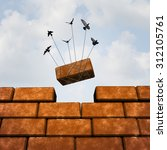 build a wall business concept ... | Shutterstock . vector #312105761