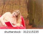 happy smiling woman relaxing in ... | Shutterstock . vector #312115235