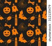 halloween seamless pattern with ... | Shutterstock .eps vector #312135479