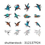 bird and duck chinese style... | Shutterstock .eps vector #312137924