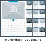 wall monthly calendar for 2016... | Shutterstock .eps vector #312158141