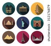 9 flat landmark icons | Shutterstock . vector #312176879