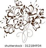 floral design  flowers contour...   Shutterstock .eps vector #312184934