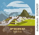 peru  landmarks. retro styled...   Shutterstock .eps vector #312196529