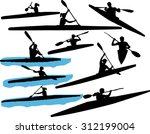 kayaking vector silhouette | Shutterstock .eps vector #312199004