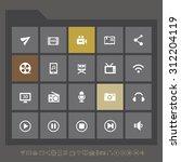 trendy gray multimedia icons