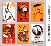 africa poster set with safari... | Shutterstock .eps vector #312208904