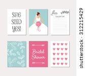 bridal set of cards for wedding ... | Shutterstock .eps vector #312215429
