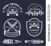 vector set of vintage sketched...   Shutterstock .eps vector #312221114