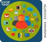flat design concept for social...